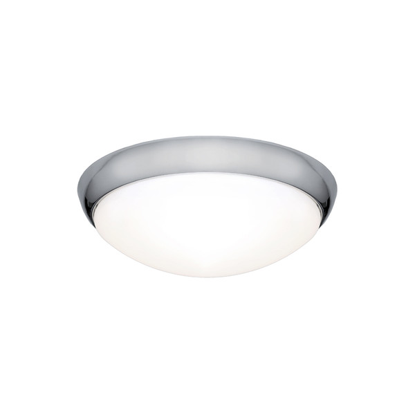 Lancer is a Clean Crisp Dome Shaped LED Oyster with Chrome Finish and Gloss Opal Acrylic Lens. Suitable for Both Indoors in Wet Areas like Bathrooms as well as Outdoors in Covered Areas. Includes 16W Dimmable SMD LED Panel with High Light Output.