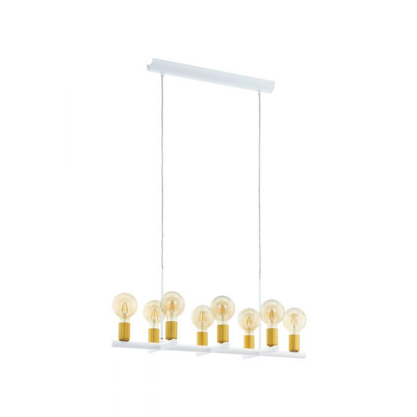 This pendant luminaire of the ADRI 2 series is made of steel and coated in a colour combination of white and gold.