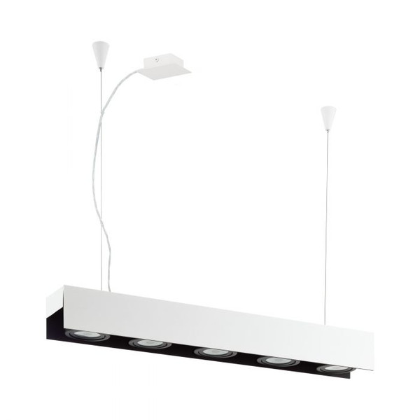 This pendant luminaire impresses with a contrasting black and white housing. The BADALONA pendant also has five adjustable LEDs that emit a warm white light.