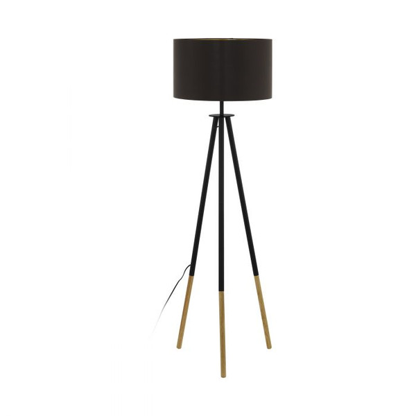This floor lamp of the BIDFORD series has a tripod base made of wood and brown finished steel, as well as cappuccino-coloured and golden inner textile shade.