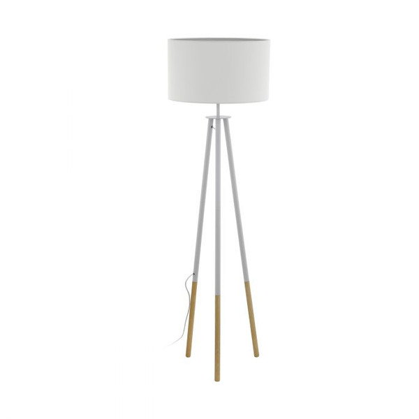 This floor lamp of the BIDFORD series has a tripod base made of wood and white finished steel, as well as a white textile shade.
