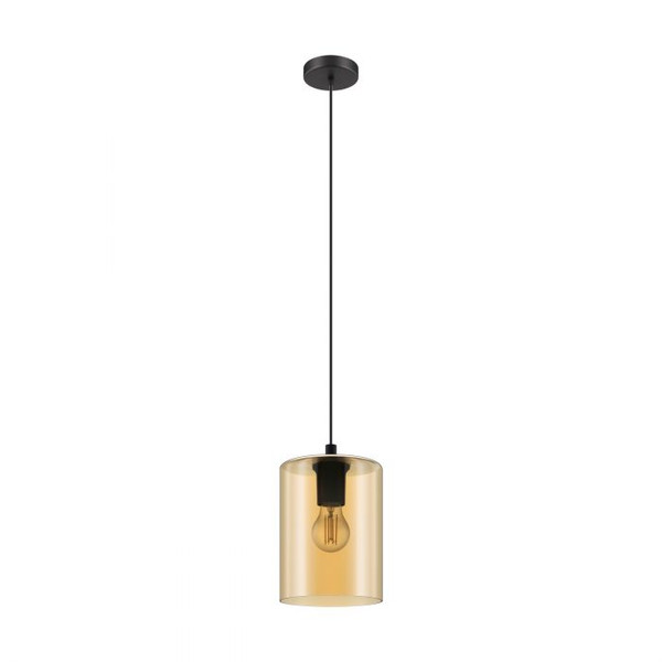 The CADAQUES 1 pendant range features transparent glass and black metalware.