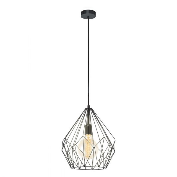 This pendant luminaire from the series CARLTON is made of black steel, and pairs well with various shapes of LED filament globes.