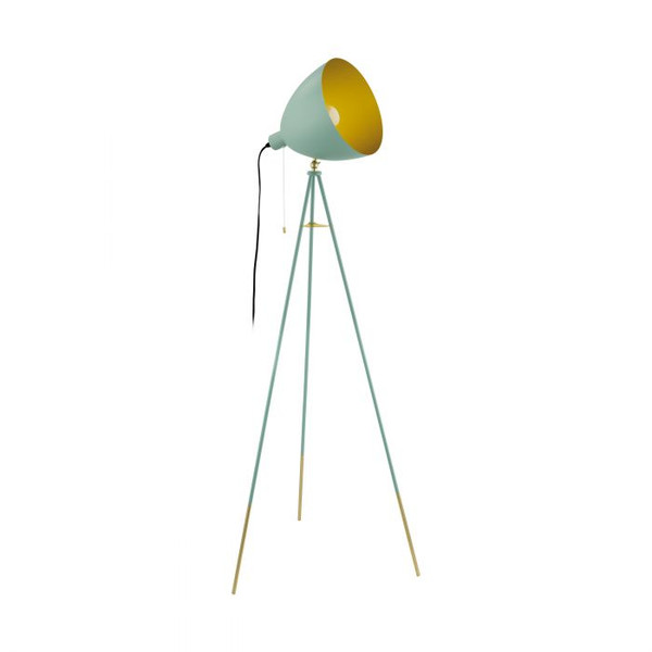 CHESTER-P 1 Light Vintage Floor Lamp Pastel Dark Green with Gold
