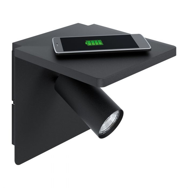 This wall luminaire comes with a wireless charging function to wirelessly charge Qi compatible devices. The warm white light generated by the GU10 illuminant is ideal for reading. Also featuring flex & plug for DIY installation.