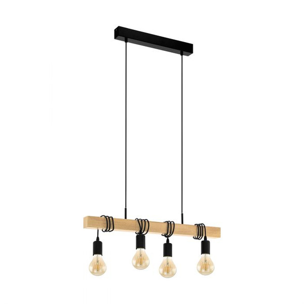 This four light pendant luminaire of the TOWNSHEND series impresses with its rustic design and the material mix of black steel and light solid wood. Pair with LED filament globes to complete the look.