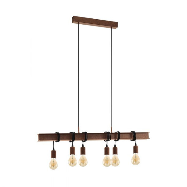 This modern pendant luminaire is an eye-catcher over your dining table! The antique-brown bar is shaped like a steel beam and carries six E27 fittings, which can be looped according to your preference. Pair with LED filament globes.
