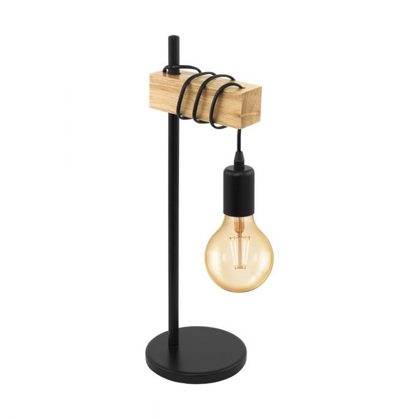 This table luminaire of the TOWNSHEND series impresses with its rustic design and the material mix of black steel and light solid wood. Pair with LED filament globes to complete the look.