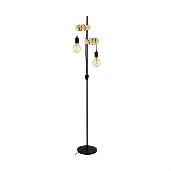 This floor luminaire of the TOWNSHEND series impresses with its rustic design and the material mix of black steel and light solid wood. Pair with LED filament globes to complete the look.
