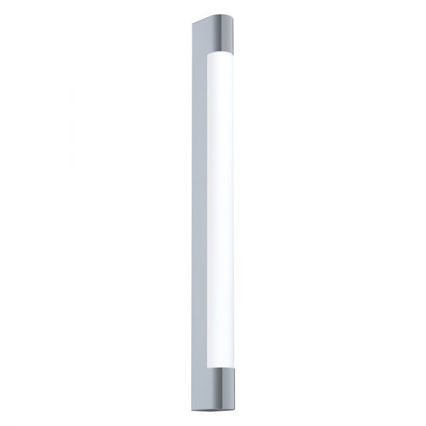 This mirror luminaire of the TRAGACETE series is made of chrome-plated stainless steel and has white plastic diffuser. The luminaire emits neutral white and has an IP44 rating for bathroom use.