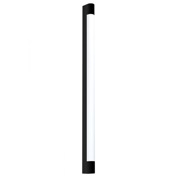 This mirror luminaire of the TRAGACETE series is made of black steel and has white plastic diffuser. The luminaire emits neutral white and has an IP44 rating for bathroom use.