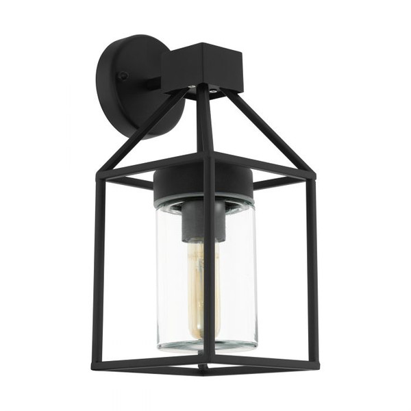 This luminaire of the series TRECATE from the outdoor collection features a charming lantern shape made of black steel with an impact-resistant protective glass.