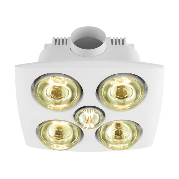 The 3 in 1 VESUVIUS bathroom range comes in either two or four heat options, and includes LED light and built-in exhaust fan.