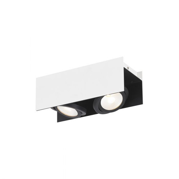 This two-head ceiling luminaire with its swivelling spot heads ensures elegant light accents in your living areas.