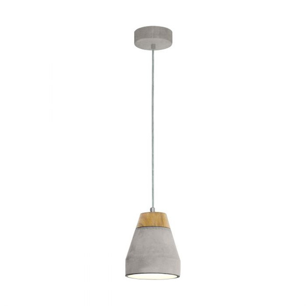 This pendant luminaire from the series TAREGA is made of grey steel, grey concrete and wood.