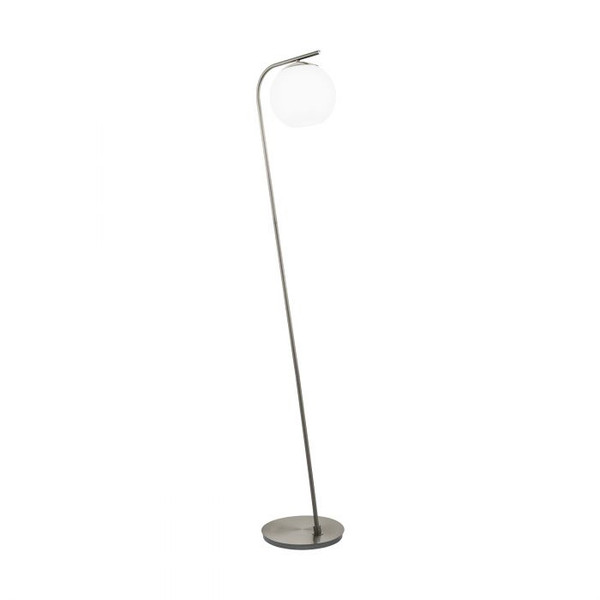 This floor luminaire of the TERRIENTE series is made of satin nickel steel and white, opal-matte glass.