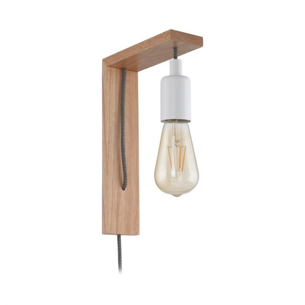 This DIY wall luminaire of the TOCOPILLA series is made of brown wood and white steel. Pair with an LED filament globe to complete the look
