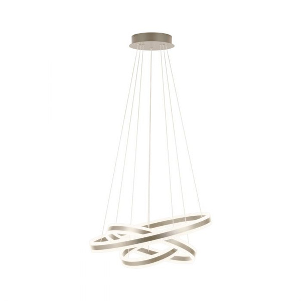The TONARELLA pendant luminaire in champagne finish creates a stunning feature piece. It uses a warm white LED light source which is also dimmable.