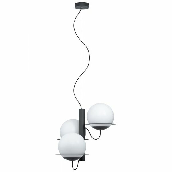 This pendant luminaire of the SABALETE series is made of black structured powder-coated steel and white opal glass. Matching wall light also available.
