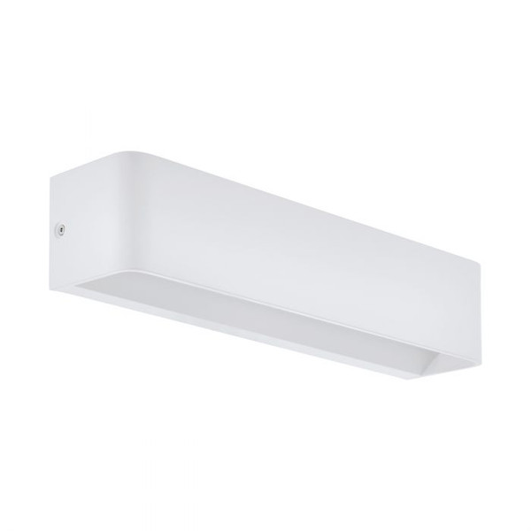 This wall luminaire of the SANIA 4 series is made of white structured powder-coated die-cast aluminium. An integrated LED illuminant gives an indirect warm white light.