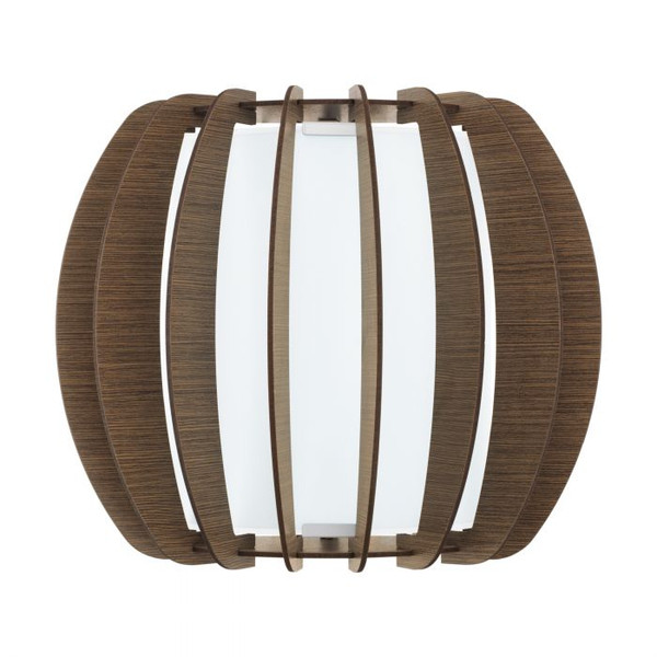 This wall luminaire from the series STELLATO 3 is made from dark brown wooden laser cut lamella fins to form an architecturally inspired shape.