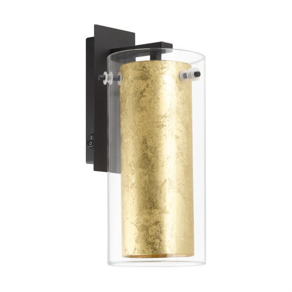 The PINTO GOLD series comprises of a black steel frame, with a double shade consisting of an outer clear glass cylinder and a conical inner glass decorated with gold leaf.