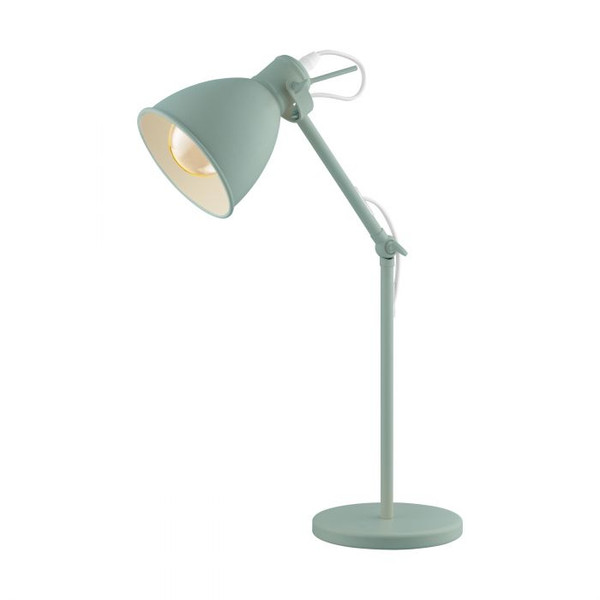 This table luminaire of the PRIDDY-P series is made of pastel light green steel and is operated by a cable switch.