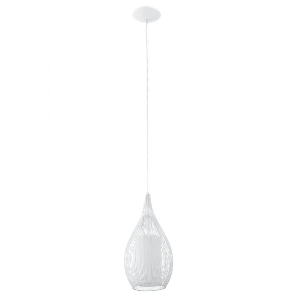 The RAZONI pendant range features an outer wire cage with inner opal satinised glass.