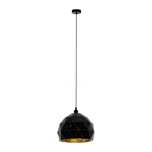 This pendant luminaire of the ROCCAFORTE series is made of black structured powder-coated steel with a gold finish on the inside of the shade. A delicate cut-out motif gives this luminaire its unique design.