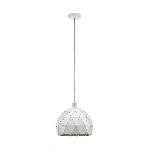 This pendant luminaire of the ROCCAFORTE series is made of white structured powder-coated steel. A delicate cut-out motif gives this luminaire its unique design.