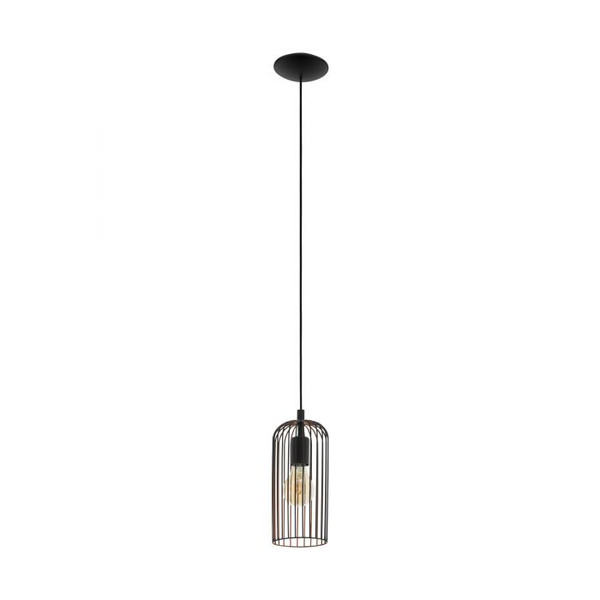 The ROCCAMENA series features a unique finish of matt black on the outside of the shade, with a subtle addition of light copper colour on the inside. Pair with an LED filament globes for a beautiful look.