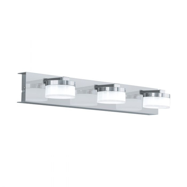 This wall luminaire from the series ROMENDO 1 is made of chrome-plated steel and clear satinised plastic. It is dimmable and includes warm white LED light sources.