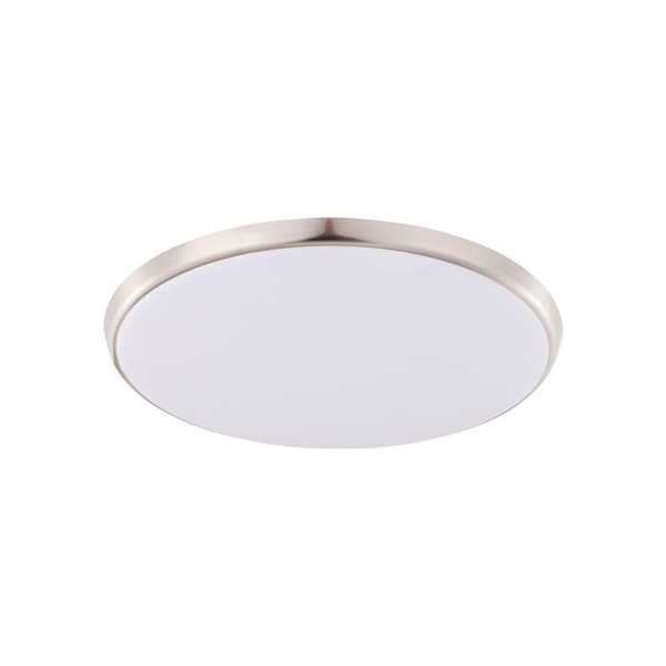 OZZIE 12W IP54 Dimmable LED Round Oyster Warm White Satin Nickel