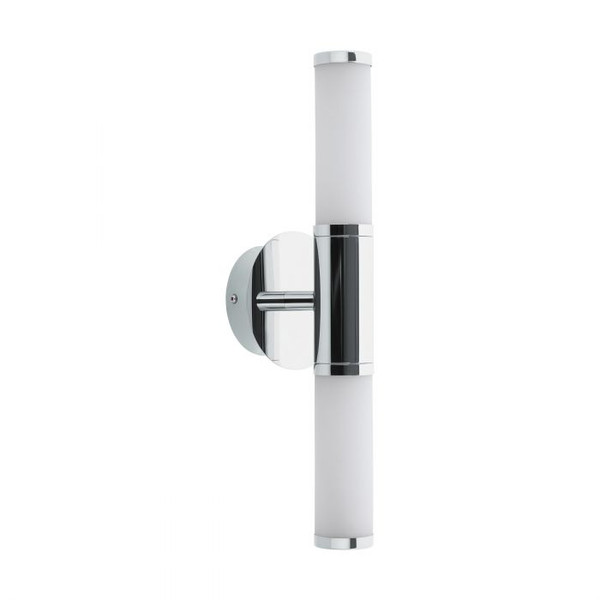 This bathroom wall luminaire from the series PALMERA 1 is made of chrome-plated steel and white, opal-matte glass. It has a rating of IP44 making it ideal for use around the bathroom vanity.