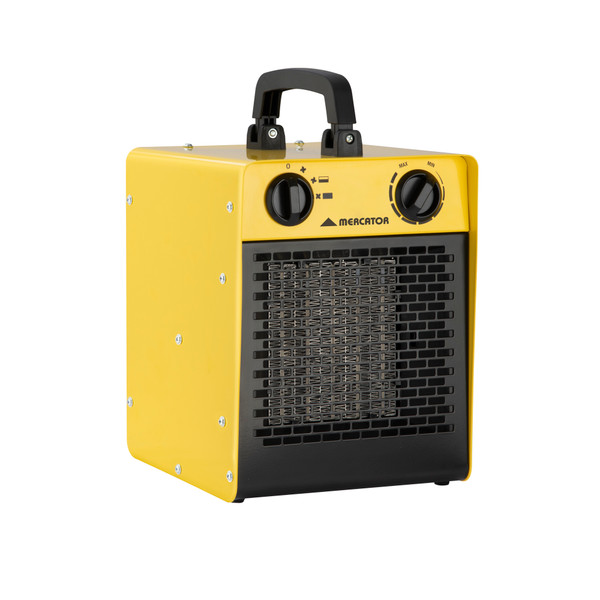 Fan only and 2 power settings 2000W/3000W. PTC heating element. Adjustable thermostat. Safety overheat protection. Robust metal construction. Safety tip-over switch. Sleek carry handle. 15A Socket is required (Not Included).
