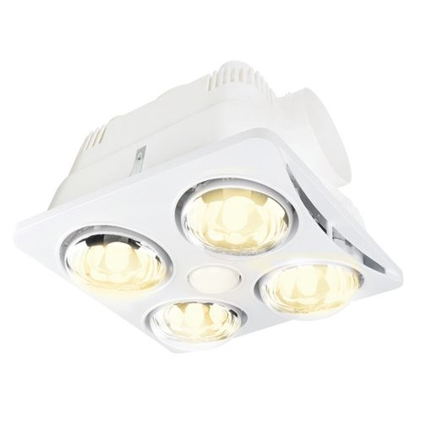 3-in-1 Bathroom Mate features an energy saver LED reflector globe and 4 x 275W infra-red heat globes. The 4 x 275W model is designed to suit small to medium bathrooms with a maximum ceiling height of 2.4m. It is fitted with a thermostat switch that will automatically turn on if the internal temperature exceeds 80°C. The box includes a 4 gang wall switch, 1.5m ducting and exterior vent.