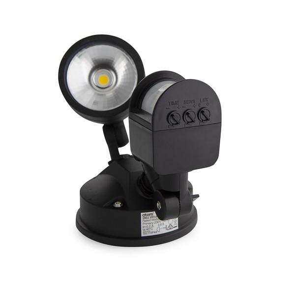 12W IP44 LED Single Spotlight with Sensor Black