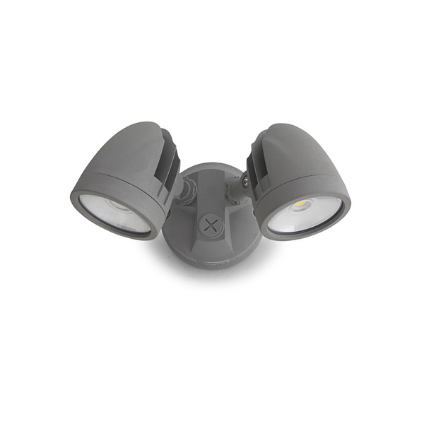 23W IP44 LED Twin Spotlight with Sensor Silver