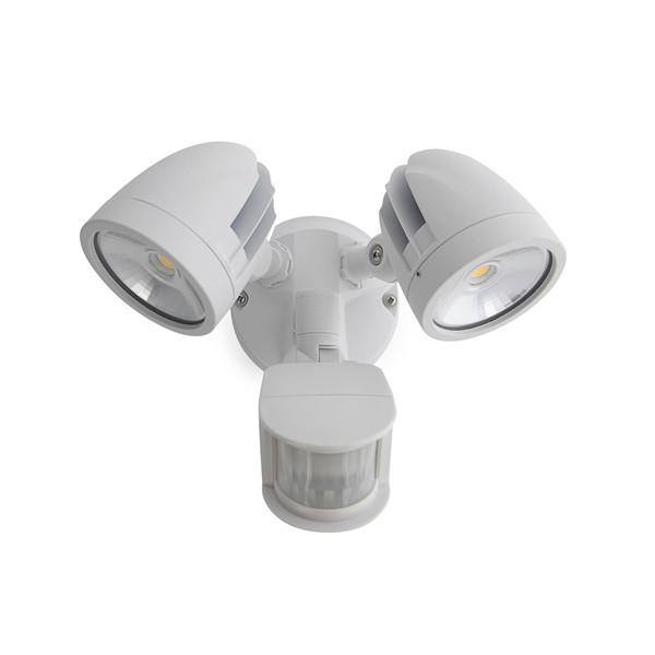 24W IP44 LED Twin Spotlight with Sensor White
