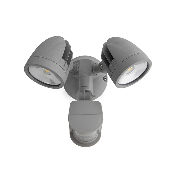 24W IP44 LED Twin Spotlight with Sensor Silver