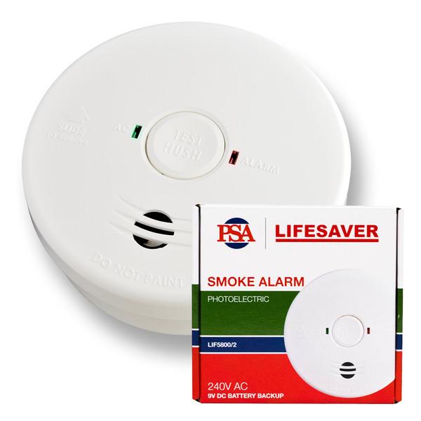 Lifesaver 240V Photoelectric Smoke Alarm with 9V Battery Backup