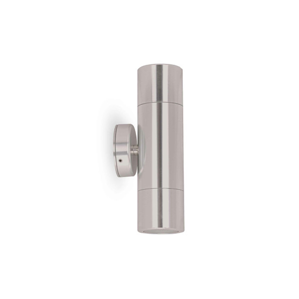 2 X 6W LED Up/Down exterior wall light with glass diffuser including LED lamps – GU10 Titanium