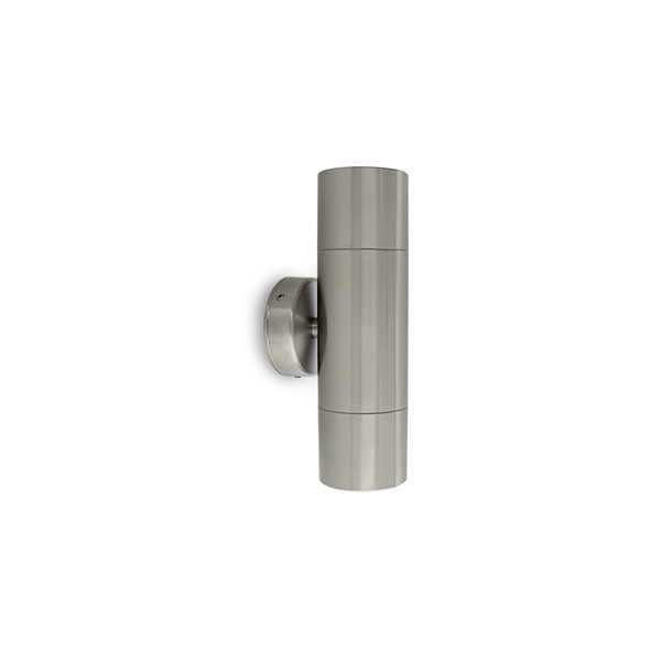 2 X 6W LED Up/Down exterior wall light with glass diffuser including LED lamps – GU10 Stainless