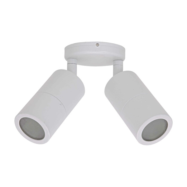 Twin Adjustable wall spot with Glass Diffuser – GU10 LED Lamp Included