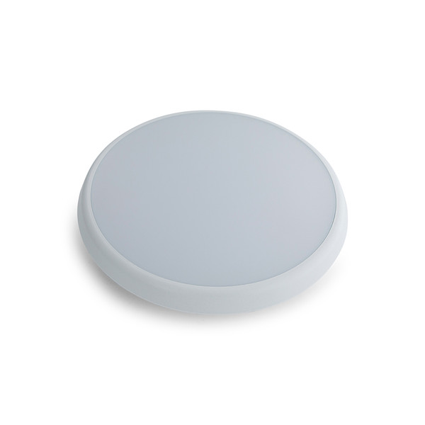 LED Round Low Profile Dimmable IP54 Poly. Oyster White.