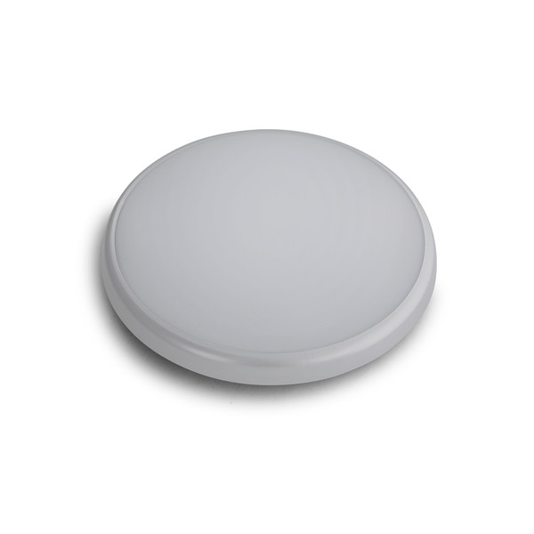 LED Round Low Profile Dimmable IP54 Poly. Oyster Silver.