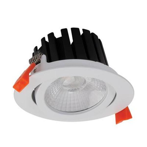 AQUA-13 Round 13W LED Tiltable Dimmable Downlight - Satin White Frame