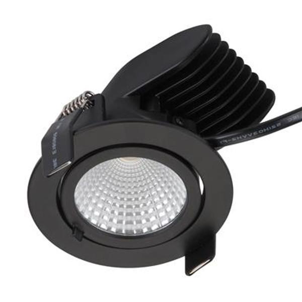 SCOOP-13 Round 13W Adjustable LED Downlight - Matt Black Frame