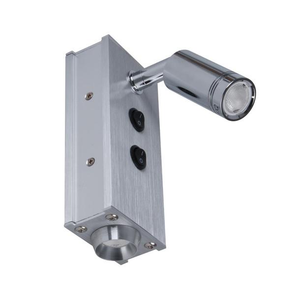 TENNISON-1 2 X 3W Internal Bed Head Wall Light with adjustable spot