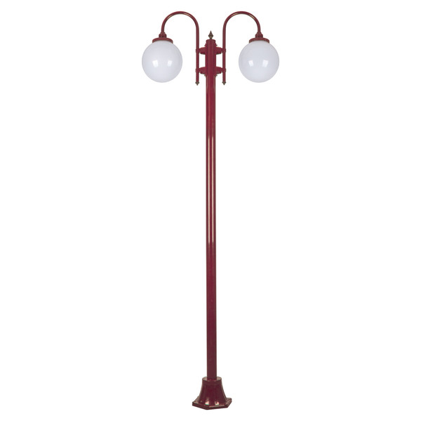 GT-1002 Lisbon Twin Spheres Curved Arms Plain Post - Powder Coated Finish / E27